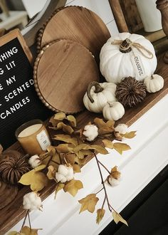 fall modern rustic farmhouse fireplace mantel with pumpkins, letterboard, shiplap