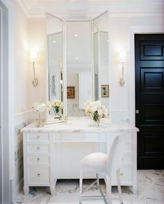 Jamie Herzlinger Interiors - May issue of Traditional Home magazine - white and marble bathroom