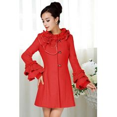 USD38.99Fashion O Neck Long Sleeve Single Breasted Long Red Woolen Coat