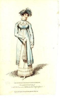 Print, fashion plate, 'The Russian & Prussian Bonnet & Pelisse' from 'La Belle Assemblee No. 59 New Series' magazine, 1814.