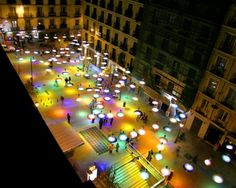 """Confetti Light, being a colorful and innovative project, was designed by Spanish architect Sergio Sebatian. Covering a area, the Confetti gives another dimension to a modified place. """"The mo. Landscape Lighting Design, Landscape Architecture Design, Architecture Diagrams, Architecture Portfolio, Classical Architecture, Ancient Architecture, Sustainable Architecture, Design D'espace Public, Urban Intervention"""