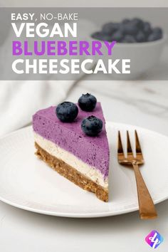 An easy recipe for vegan blueberry cheesecake that tastes so delicious, you won't believe it's a raw vegan dessert! Refined sugar free and gluten free too. #deliciousplants #raw #vegan #blueberry #cheesecake