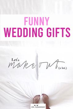"""HILARIOUS (but still super sweet) wedding gifts for the bride and groom! Send a message the couple will love with """"Let's Make Out"""". Because, newlyweds! This funny wedding gift for the bride and groom is great!  It's one of the most creative and unique wedding gift ideas you could find! It's is romantic, creative, useful, and a great way to remember their wedding day! These are the perfect wedding or anniversary gift!  #WeddingGift #AnniversaryGift #Funny #FunnyWeddingGift #OhSusannah Funny Wedding Gifts, Creative Wedding Gifts, Wedding Humor, 2 Year Anniversary Gift, Cotton Anniversary Gifts, Couple Pillowcase, Cotton Gifts, Valentines Day Gifts For Her, Decorative Pillow Cases"""