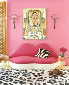 A vintage Salvador Dalí sofa in the office/living area of Diane von Furstenberg's New York penthouse