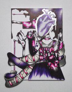 """""""Happy End"""" est un cadre de 13*18 cm composé par collage de différents éléments dessinés. Entre une petite fille et un tueur en série, il n'y a qu'un dessin. """"Happy End"""" décrit l'histoire d'une fille devenue explosive et violente par amour."""
