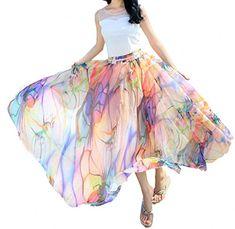 Afibi Women Full/Ankle Length Blending Maxi Chiffon Long Skirt Beach Skirt at Women's Clothing store: Long Chiffon Skirt, Flowy Skirt, Maxi Skirts, Golf Skirts, White Chiffon, Pleated Skirt, Tube Top Dress, Ankle Length Skirt, Beach Skirt