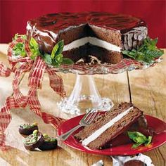 Chocolate-Mint Cake recipe ~ Velvety chocolate cake filled with peppermint tastes like a scrumptious peppermint pattie.