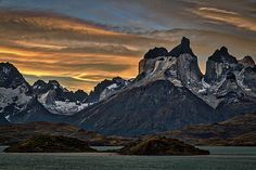 Photograph by Stuart Litoff.  The #CuernosDelPaine #mountains at sunset in #TorresDelPaine #NationalPark, in the #Patagonia region of #Chile