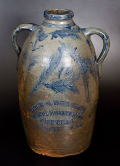 RICE & BROYLES / MONROE MONUMENTAL / POTTERY / LINDSIDE, WV Ten-Gallon Double-Handled Stoneware Jug