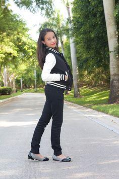 http://stylishlyinlove.blogspot.com/  Varsity Jacket. Love this!