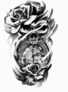 Clock Tattoo Design, Skull Tattoo Design, Tattoo Sleeve Designs, Tattoo Designs Men, Sleeve Tattoos, Skull Rose Tattoos, Body Art Tattoos, Hand Tattoos, Pocket Watch Tattoos