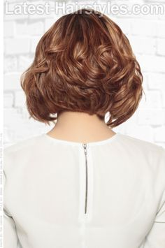 Wavy Short Stacked Hairstyle Back View