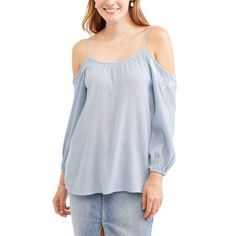 Whoa, Wait Women's Cold Shoulder Fashion Shirt, Size: Medium, Blue