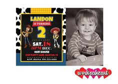 Personalized Toy Story Birthday Party Invitations - Personalize and Print - Woody and Jessie