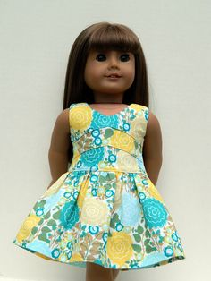 American Girl Doll Clothes -  Floral Print Lisianthus Dress via Etsy