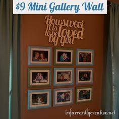 Cheap gallery wall using frames from the dollar store and spray paint