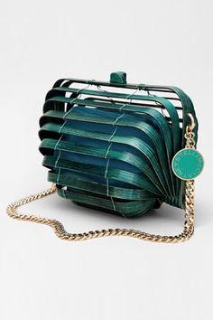 Stella McCartney Wooden Cage Bag. teal aqua turquoise. Accessories design