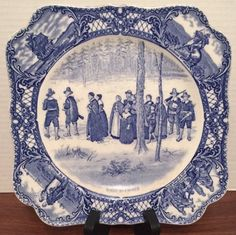 Blue Colonial Times Square Transferware Plate Pilgrims Going To Church