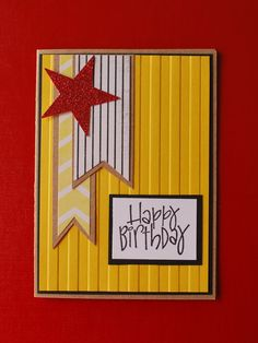 Handmade Card, Happy Birthday, Teenager, Men, Bright, Star, Glitter. $3.25, via Etsy.