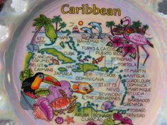 Vintage 70s CARIBBEAN Souvenir Lusterware Plate Cuba by curioscity, $10.00