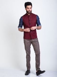 in product the-burgundy-crystal-nehru-jacket Mens Indian Wear, Mens Ethnic Wear, Indian Men Fashion, Man Fashion, Nehru Jacket For Men, Nehru Jackets, Wedding Dresses Men Indian, Wedding Dress Men, Wedding Suits