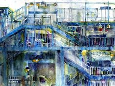"Da Subway—168th Street (watercolor on paper) by Dorrie Rifkin  -  Critic's comments: ""Dorrie Rifkin's work is fresh and spontaneous and her sense of humor is frequently evident in her paintings. Her choices of subject matter are as refreshing as her bold, direct painting technique."" — John Salminen"