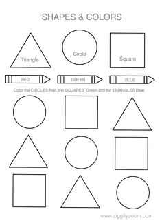 preschool color worksheets help your child or class learn their shapes and colors this