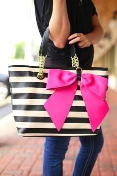Black and White Stri     Black and White Striped tote with Gold Chain and Black Leather Tote with Pink Bow Bow-Nanza Tote by Betsey Johnson
