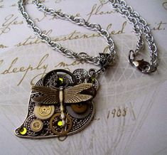 Steampunk Necklace with Dragonfly and Clock by DesignsByFriston