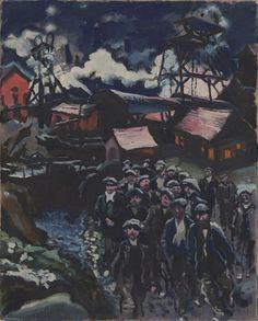 Ludwig Meidner (German, 1884 – Miners, 1912 oil on canvas Max Beckmann, Karl Hofer, Ludwig Meidner, Karl Schmidt Rottluff, George Grosz, The Royal School, Degenerate Art, Alberto Giacometti, Jewish Art