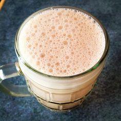 chaga tea latte - chaga tea, almond milk, cinnamon, honey, coconut oil and maca
