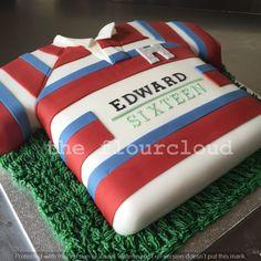 Rugby shirt birthday cake.