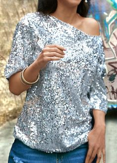 Skew Neck Sequins Embellished Silver T Shirt on sale only US$25.90 now, buy cheap Skew Neck Sequins Embellished Silver T Shirt at lulugal.com