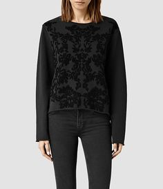 Womens Philomena Embroidered Sweatshirt (Washed black/Black) - product_image_alt_text_1