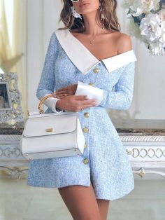 Contrast Color Single-Breasted Irregular Dress We Miss Moda is a leading Women's Clothing Store. Offering the newest Fashion and Trending Styles. Trend Fashion, Fashion Beauty, Womens Fashion, Fashion Tips, Fashion Design, Fall Fashion, Style Fashion, Feminine Fashion, Fashion Websites