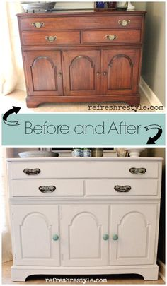 Add extra counter space by repurposing a piece of furniture and using it as a beverage/serving center. Paint it, add new hardware and fall in love with it all over again! Redo Furniture, Painted Furniture, Diy Home Improvement, Refinishing Furniture, Home Decor, Recycled Furniture, Diy Furniture Projects, Furniture Rehab, Furniture Makeover