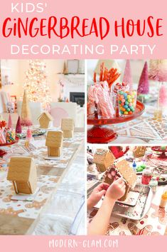 Host a fun gingerbread house decorating party for kids! Celebrate the holidays with this fun party that is sure to become a yearly tradition! Cool Gingerbread Houses, Gingerbread House Parties, Christmas Gingerbread House, Christmas Gift Guide, Christmas Crafts, Christmas Eve, Ginger Bread House Diy, Hallowen Party, Holiday Fun