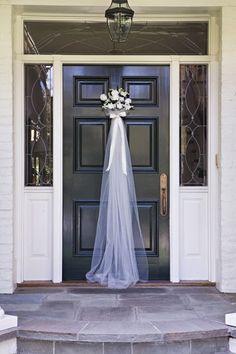 bridal shower - veil on the door