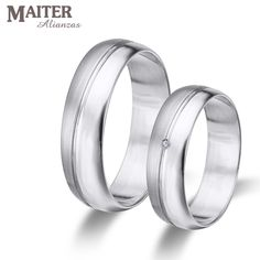 #Alianza #boda oro blanco media caña pulida y mate  50mm #brillante 0.015 cts www.joyasmaiter.com