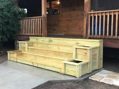 Planter Porch Steps – front yard ideas with porch Front Porch Stairs, Patio Stairs, Backyard Patio, Concrete Front Porch, Front Porches, Diy Porch, Diy Deck, Porch Ideas, Outdoor Steps