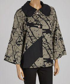 Love this Black & Beige Abstract Jacket - Women by Cupcake International on #zulily! #zulilyfinds