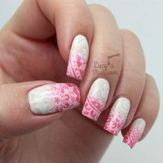 Doodle Stamped Gradient Nail Art ♥ (via Bloglovin.com )