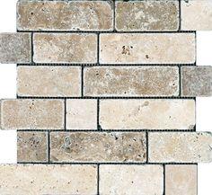 Chiaro / Noce Random Brick Tumbled Mosaics