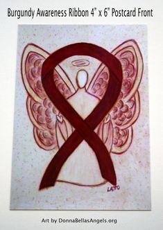 Multiple Myeloma Burgundy Awareness Ribbon Cancer Guardian Angel Art Postcards (10 Pack)
