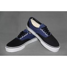 Vans 2 Tone canvas Era Blue & Black Blue And Black Vans, Black Vans Shoes, Cheap Converse, Converse All Star, Cheap Van, Canvas Sneakers, Christian Louboutin, Heels, Kicks