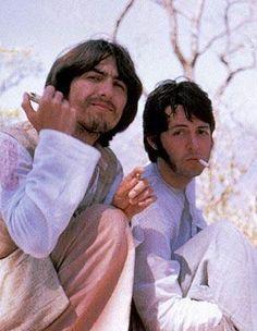 George Harrison and Paul McCartney (in India)