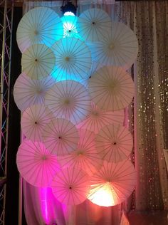 Parasol Backdrop up & down lit with LED's!   www.srlweddings.com