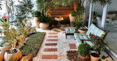 """Todas as espécies vegetais( e muitas outras) contidas nas imagens foram usadas na formação paisagística desse terraço de apartamento: """"Na..."""