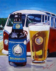 Beer Oil Painting of Scrimshaw Pilsner by North Coast Brewing Co. - Year of Beer 02/19