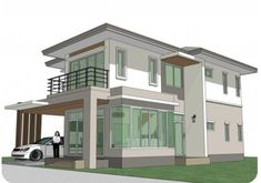 Home Design Plan with 4 Bedrooms. - Home Ideassearch Town House Plans, House Plans Mansion, House Layout Plans, Small House Plans, House Layouts, House Front Design, Modern House Design, Home Design Plans, Plan Design